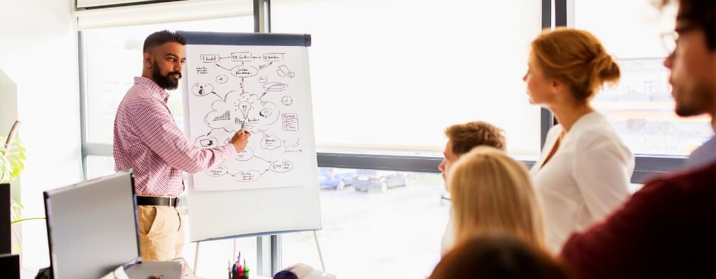 Meeting to discuss call flow process using a whiteboard
